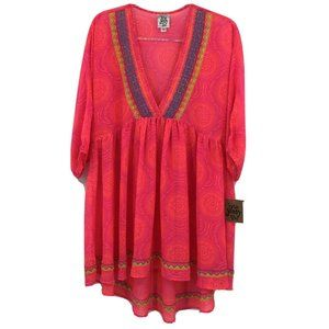 Ivy Jane Boho V Neck Tunic Top Small Bright Pink